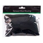 FW50.303 Natural Wool Roving: 50g : Black